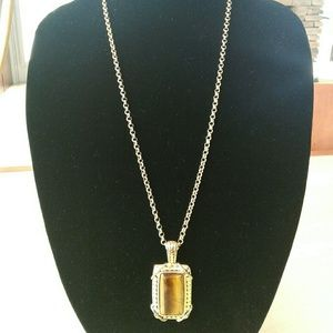 Gold looking necklace with Tiger Eye